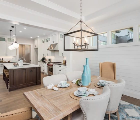 Staged kitchen and dining room