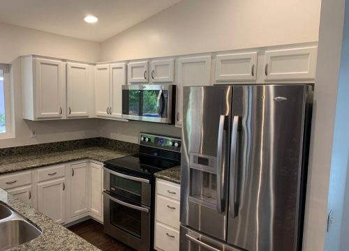 wood cabinets in a kitchen