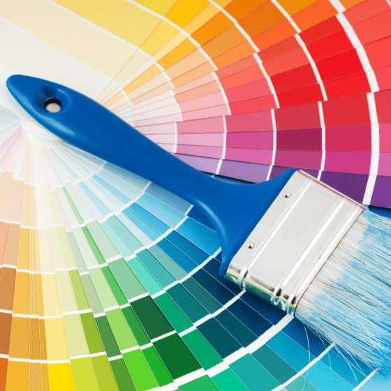 color sample wheel laid out with a paint brush